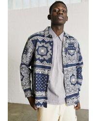 Urban Outfitters Uo Bandana Print Brushed Twill Shirt - Blue