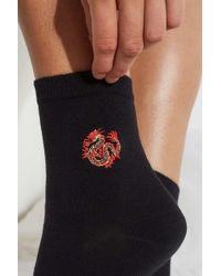 492afe7dacfe47 Urban Outfitters - Uo Embroidered Dragon Motif Socks - Womens All - Lyst