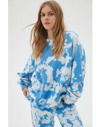 Urban Renewal Recycled Fluffy Clouds Tie-dye Crew Neck Sweatshirt - Blue