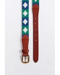 Urban Outfitters Diamond Pattern Needlepoint Belt - Blue