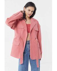 Kye Oversized Corduroy Belted Jacket - Pink