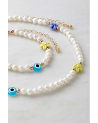 Urban Outfitters Faux-pearl Flower Necklace & Bracelet Set - Multicolour