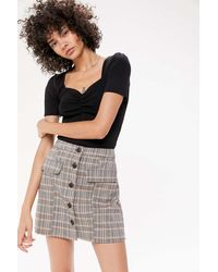 Urban Outfitters Uo Pennsport Plaid Button-front Skirt - Multicolor
