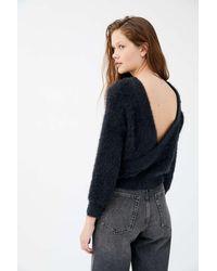 Urban Outfitters Uo Elsa Fuzzy Surplice-back Sweater - Blue