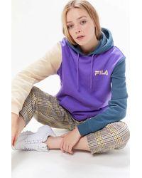 Urban Outfitters x FILA Fila Uo Exclusive Dericia Colorblock Hoodie Sweatshirt - Purple