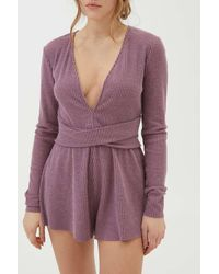 Out From Under Hanna Wrap Front Playsuit - Purple