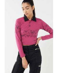 HOT LAVA Butterfly Cropped Rugby Tee - Pink