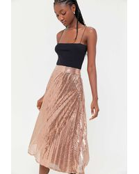 Urban Outfitters Uo Emilia Sequin Pleated Midi Skirt - Multicolor