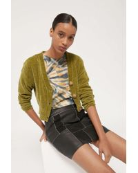 Urban Outfitters Uo Honey Plush Cropped Cardigan - Green