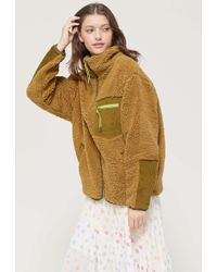 Urban Outfitters Uo Georgia Fleece Zip-front Jacket - Multicolor