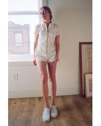 Urban Outfitters Uo Tyson Twill Utility Romper - White