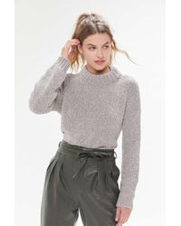 Urban Outfitters Uo Milo Chenille Mock Neck Sweater - Gray