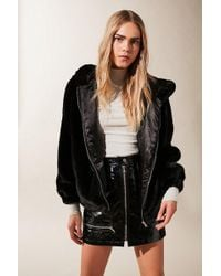 Urban Outfitters Uo Lilly Zip-up Faux Fur Jacket - Black