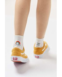 Urban Outfitters Ankle Verbiage Crew Sock - White