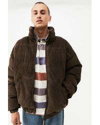 iets frans... Brown Embroidered Corduroy Puffer Jacket