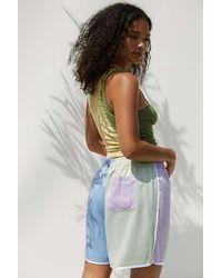 Fiorucci Lilac & Green La Pesca Logo Satin Shorts