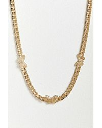 Urban Outfitters Butterfly Curb Chain Necklace - Metallic