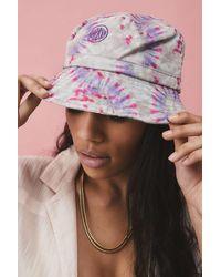 Urban Outfitters Uo Bubble Logo Tie-dye Canvas Bucket Hat - Purple