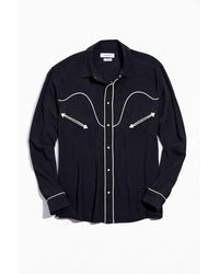 Urban Outfitters Uo Western Rayon Button-down Shirt - Blue