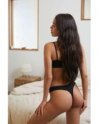 Out From Under Modern Mesh Dip Thong - Black