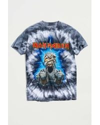 Urban Outfitters Iron Maiden Power Tie-dye Tee - Blue