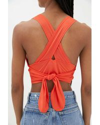 Urban Outfitters Uo Phoenix Plunging Tank Top - Red