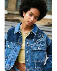 BDG Indigo Yin Yang Patchwork Denim Jacket - Blue