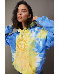 Urban Outfitters Uo Celestial Sun Tie-dye Hoodie - Blue
