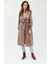 Urban Outfitters Uo Patent Belted Trench Coat - Multicolor