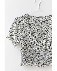 Urban Outfitters Uo Bennett Button-down Smocked Top - Multicolor