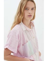 BDG Stevie Spliced Button-down Shirt - Pink
