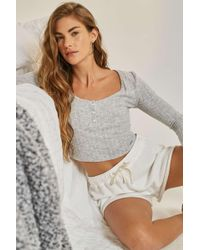 Out From Under - Sophie Cropped Henley Top - Lyst