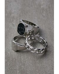 Urban Outfitters Silver-tone Rings 3-pack - Metallic