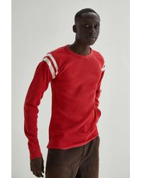 BDG Game Day Waffle Knit Long Sleeve Shirt - Red