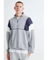 iets frans Sweatshirt im Bahnendesign in Grau mit Stehkragen