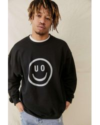 Urban Outfitters Uo Black Happy Face Sweatshirt