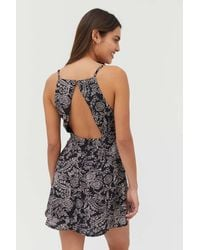 Urban Outfitters Uo Kingston Printed Cutout Mini Dress - Black
