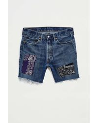 Urban Outfitters Vintage Bandana Patched Cutoff Denim Short - Blue