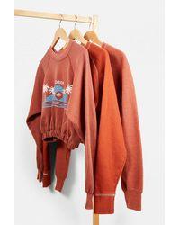 Urban Renewal Remade From Vintage Bubble Hem Sweatshirt - Orange