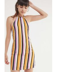 Urban Outfitters - Uo Striped Halter Neck Mini Dress - Lyst