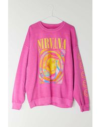 Urban Outfitters Nirvana Smile Overdyed Sweatshirt - Pink