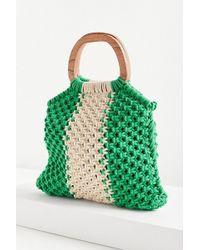Urban Outfitters - Wood Handle Stripe Macrame Tote Bag - Lyst