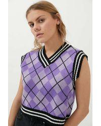 The Ragged Priest Harvester Sweater Vest - Purple