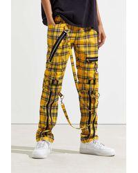 Tripp Nyc Zip Chain Plaid Pant - Yellow