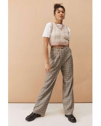 Urban Outfitters UOWeite Hose mit Karomuster in Braun