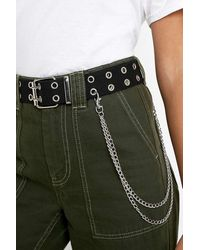 Urban Outfitters Double Eyelet Chain Belt - Black