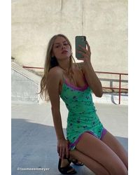 Motel Coti Lace Trim Slip Dress - Green