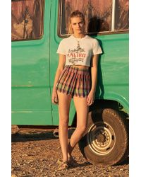 Urban Outfitters - Uo Madras Check Print Smocked Beach Shorts - Lyst