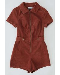 Urban Outfitters Uo Tyson Zip-front Short Sleeve Romper - Brown