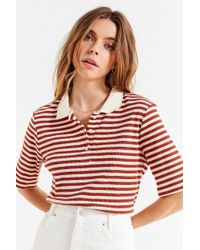 Urban Outfitters - Uo Striped Ribbed Knit Polo Shirt - Lyst
